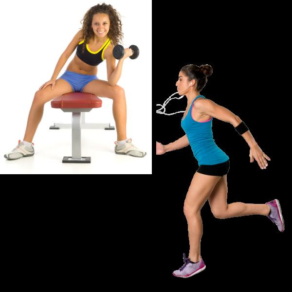 woman running and lifting weights